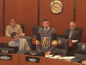 Winnipeg Mayor Brian Bowman lost a bet with his counterpart in Las Vegas and had to wear a Knights jersey in council when they downed the Jets in their NHL playoff matchup.