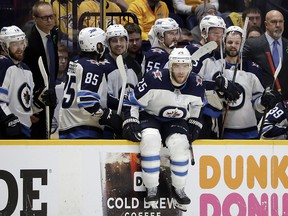 Winnipeg Jets centre Paul Stastny (25) waits for time to run out in the third period in Game 7 against the Nashville Predators Thursday, May 10, 2018, in Nashville, Tenn. (AP Photo/Mark Humphrey)