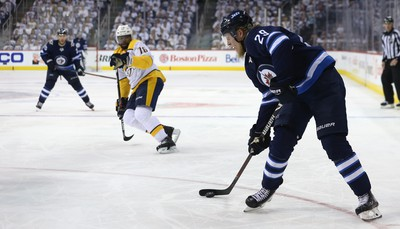 Winnipeg Jets forward Patrik Laine loads up a wrist shot during Game 2 of their second-round playoff series against the Nashville Predators in Winnipeg on Tues., May 1, 2018. Kevin King/Winnipeg Sun/Postmedia Network