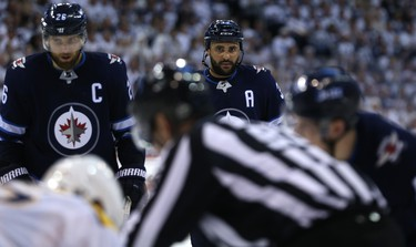 Winnipeg Jets defenceman Dustin Byfuglien focuses late during Game 4 of their second-round NHL playoff series against the Nashville Predators in Winnipeg on Thurs., May 3, 2018. Kevin King/Winnipeg Sun/Postmedia Network