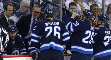 Winnipeg Jets head coach Paul Maurice speaks to his troops during a third-period timeout against the Nashville Predators during Game 4 of their second-round NHL playoff series in Winnipeg on Thurs., May 3, 2018. Kevin King/Winnipeg Sun/Postmedia Network