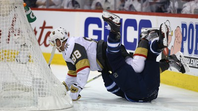 Vegas Golden Knights defenceman Nate Schmidt winds up on top of Winnipeg Jets centre Mark Scheifele during Game 2 of the Western Conference final in Winnipeg on Mon., May 14, 2018. Kevin King/Winnipeg Sun/Postmedia Network