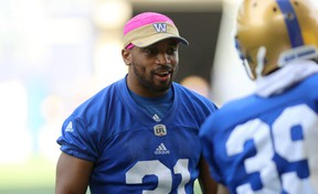 Defensive back Maurice Leggett, who is coming back from a torn Achilles tendon, helps out during Winnipeg Blue Bombers training camp at Investors Group Field in Winnipeg on Wed., May 23, 2018. Kevin King/Winnipeg Sun/Postmedia Network