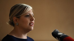 Provincial director Brianne Goertzen speaks during the launch of the Manitoba Health Coalition, at the Fort Garry Hotel in Winnipeg, on Thurs., June 28, 2018. Kevin King/Winnipeg Sun/Postmedia Network