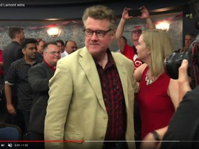 Screensht of Manitoba Liberal leader Dougald Lamont greeting supporters at the Norwood Hotel in Winnipeg after winning the St. Boniface byelection on Tuesday, July 17, 2018. The seat was previously held by former NDP premier Greg Selinger.