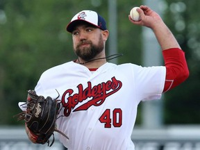 Winnipeg Goldeyes starting pitcher Mitch Lambson delivers against the Gary SouthShore RailCats during American Association action in Winnipeg on  June 12, 2018. (KEVIN KING/Winnipeg Sun files)