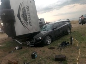 An overturned trailer is shown after a tornado at Margaret Bruce Beach, east of Alonsa, Man., on Friday, Aug.3, 2018. A tornado that touched down west of Lake Manitoba on Friday night tore at least one home off its foundation, a spokesman for Environment Canada said Saturday. THE CANADIAN PRESS/HO-Facebook-Vanessa Whyte MANDATORY CREDIT ORG XMIT: CPT102