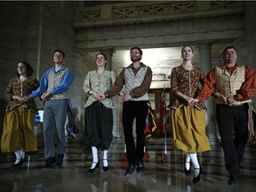 Representatives of Folklorama's French Canadian Pavilion perform in the rotunda of the Manitoba Legislative Building in Winnipeg during a multicultural celebration on Mon., Aug. 20, 2018. Kevin King/Winnipeg Sun/Postmedia Network