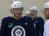 Brendan Lemieux (left) speaks with Bryan Little during Winnipeg Jets practice at Bell MTS Iceplex on Mon., Oct. 1, 2018. Kevin King/Winnipeg Sun/Postmedia Network
