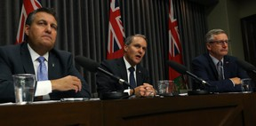 Justice Minister Cliff Cullen, Health Minister Cameron Friesen, and Trade Minister Blaine Pedersen (from left) speak to the province's readiness for cannabis legalization at the Manitoba Legislative Building in Winnipeg on Wed., Oct. 10, 2018. Kevin King/Winnipeg Sun/Postmedia Network