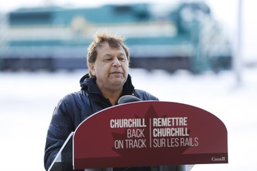 Churchill Mayor Mike Spence speaks to a crowd in Churchill, Manitoba Thursday, November 1, 2018. Prime Minister Justin Trudeau visited Churchill today to announce the opening of the railway and the Port of Churchill. THE CANADIAN PRESS/John Woods