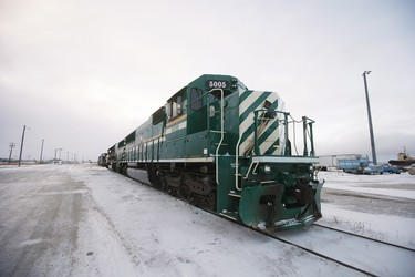 The first train in 18 months to arrive on a repaired line is photographed in Churchill, Manitoba Thursday, November 1, 2018. Prime Minister Justin Trudeau visited Churchill today to announce the opening of the railway and the Port of Churchill. THE CANADIAN PRESS/John Woods