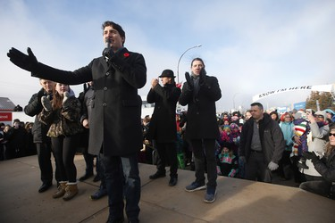 Prime Minister Justin Trudeau announces to the residents the opening of the repaired railway in Churchill, Manitoba Thursday, November 1, 2018. Prime Minister Justin Trudeau visited Churchill today to announce the opening of the railway and the Port of Churchill. THE CANADIAN PRESS/John Woods