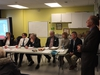 Manitoba Liberal Health Critic and MLA for River Heights, Jon Gerrard (far right), hosted a community forum to discuss how the Provincial Government can best optimize the health of Manitobans by preventing specific medical conditions including diabetes, HIV-AIDS, and mental and brain illnesses at the Sir John Franklin Community Centre in Winnipeg on Sunday, Nov. 18, 2018. (Left to right) Guest speakers were Jane Meagher, Robyn Priest, Michael McMullen, Neil Johnston, Dr. Margaret England and Dr. Paul Sanderson. GLEN DAWKINS/Winnipeg Sun/Postmedia Network