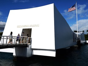 The USS Arizona Memorial, marking the resting place of the crewmen killed on December 7, 1941 when Japanese Naval Forces bombed Pearl Harbor, is pictured on December 24, 2016 in Pearl Harbor, Hawaii. (Getty Images)