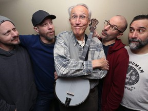 Ego Spank Presents: Al Simmons, in concert at the West End Cultural Centre in Winnipeg on Fri., Dec. 14, 2018. Pictured in their rehearsal space on Tues., Dec. 11, 2018 are Simmons (centre), with Ego Spank members, from left, Marc Arnould (keys, vocals), Murray Pulver (guitar, vocals), Daniel Roy (drums, vocals) and Gilles Fournier (bass, vocals). Kevin King/Winnipeg Sun/Postmedia Network