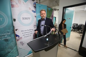 George Robinson CEO of RavenQuest talked to media in Winnipeg about recalled marijuana at licensed producer Bonify.  Thursday, December, 27/2018 Winnipeg Sun/Chris Procaylo/stf