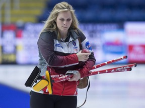 Team Canada skip Jennifer Jones heads from the ice after losing to Northern Ontario in championship pool action at the Scotties Tournament of Hearts in Sydney, N.S. on Friday, Feb. 22, 2019.