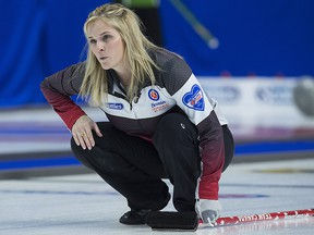 Team Canada skip Jennifer Jones watches a rock as they play Prince Edward Island at the Scotties Tournament of Hearts at Centre 200 in Sydney, N.S. on Monday, Feb. 18, 2019. (THE CANADIAN PRESS/Andrew Vaughan)