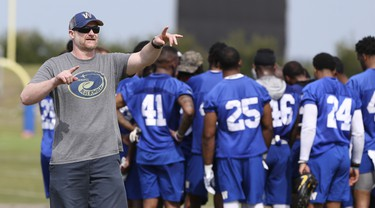 Winnipeg Blue Bombers Head Coach Mike O'Shea  organizes workouts during a team mini-camp at IMG Academy in Bradenton Florida on Thursday, April 25, 2019.  Photo by Tom O'Neill