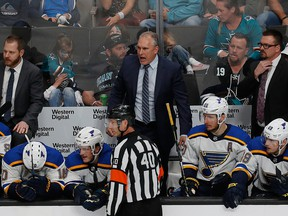 St. Louis Blues' head coach Craig Berube, centre, reacts on the bench in the third period in Game 1 of the NHL hockey Stanley Cup Western Conference finals against the San Jose Sharks in San Jose, Calif., Saturday, May 11, 2019.