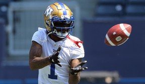Receiver Darvin Adams makes a catch during Winnipeg Blue Bombers training camp at IG Field on Wed., May 29, 2019. Kevin King/Winnipeg Sun/Postmedia Network