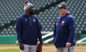 Rick Forney (right) has led 10 winning ballclubs during his first 13 seasons as Goldeyes' skipper, and understands it can take weeks before a team carves out its identity.(Kevin King/Winnipeg Sun)