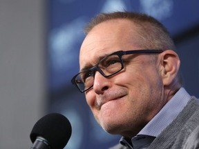 Winnipeg Jets head coach Paul Maurice considers his answer at his end-of-season press conference at Bell MTS Place in Winnipeg on Mon., April 22, 2019. Kevin King/Winnipeg Sun/Postmedia Network