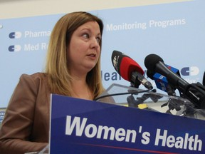Sarah Guillemard, Manitoba PC Fort Richmond candidate, promises a Tory government would invest $3.4 million to implement health initiatives for women in Manitoba, at a press conference in Winnipeg on Sunday.