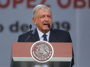President of Mexico Andres Manuel Lopez Obrador speaks during a ceremony to celebrate his administration's first anniversary at Zocalo on July 1, 2019 in Mexico City, Mexico.