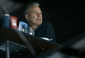 General manager Kevin Cheveldayoff watches during Winnipeg Jets training camp at Bell MTS Iceplex on Sun., Sept. 15, 2019. Kevin King/Winnipeg Sun/Postmedia Network