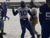 Winnipeg Blue Bombers players including slotback Nick Demski 10) prepare for Saturday's game against the Montreal Alouettes, on Friday.