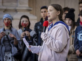 DENVER, CO - OCTOBER 11: Swedish teen activist Greta Thunberg speaks at the Fridays For Future Denver Climate Strike on October 11, 2019 at Civic Center Park in Denver, Colorado. Thousands of protesters attended the event which was sparked by Thunberg's #FridaysForFuture movement.