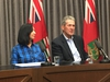 Jay Grewal, president and CEO of Manitoba Hydro (left) and Manitoba Premier Brian Pallister address a media conference at the Manitoba Legislature in Winnipeg on Sunday, Oct. 13, 2019. The Manitoba government has declared a provincial state of emergency for Manitoba Hydro to help deal with the aftermath of the major winter storm that swept a large area of the province. GLEN DAWKINS/Winnipeg Sun/Postmedia Network