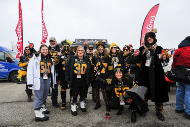 CALGARY, AB - NOVEMBER 24: Hamilton Tiger-Cats fans rally their team prior to the 107th Grey Cup Championship Game against the Winnipeg Blue Bombers during at McMahon Stadium on November 24, 2019 in Calgary, Alberta, Canada. (Photo by Derek Leung/Getty Images)