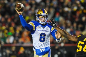 Zach Collaros of the Winnipeg Blue Bombers passes against the Hamilton Tiger-Cats during the 107th Grey Cup Championship Game at McMahon Stadium on Nov. 24, 2019 in Calgary.