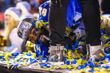Nov 24, 2019; Calgary, Alberta, CAN; Winnipeg Blue Bombers wide receiver Rasheed Bailey (88) celebrates their win over Hamilton Tiger-Cats during the 107th Grey Cup championship football game at McMahon Stadium. Mandatory Credit: Sergei Belski-USA TODAY Sports