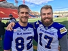 Quarterback Chris Streveler (right) and receiver Drew Wolitarsky at McMahon Stadium in Calgary after the Winnipeg Blue Bombers walkthrough on Saturday, Nov. 23, 2019. The Blue Bombers take on the Hamilton Tiger-Cats in the 107th Grey Cup on Sunday, Nov. 24, 2019.