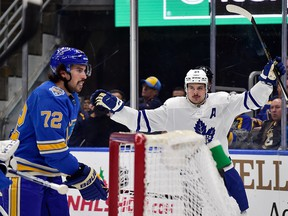 Toronto Maple Leafs centre Auston Matthews celebrates after scoring during the first period against the St. Louis Blues at Enterprise Center in St. Louis, Mo., on Saturday, Dec. 7, 2019.