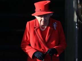 Queen Elizabeth II leaves after attending the Christmas Day Church service at Church of St. Mary Magdalene on the Sandringham estate in King's Lynn, England, Wednesday, Dec. 25, 2019.