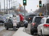 Eastbound traffic on Ellice Avenue at St. James Street was snarled in the afternoon after a vehicle knocked down a light post and became stuck on the median.   Saturday, December 072019 Winnipeg Sun/Chris Procaylo/stf