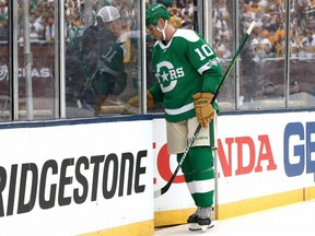 Stars forward Corey Perry leaves the game after being assessed a five-minute major for elbowing and a game misconduct in the first period of the Bridgestone NHL Winter Classic against the Predators at Cotton Bowl in Dallas on Wednesday, Jan. 1, 2020.