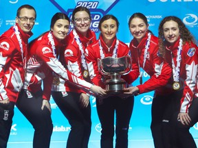 2020 world junior women's champion Mackenzie Zacharias (far right) of Altona, Man., and her teammates appear headed to the Scotties as one of the wild card teams.