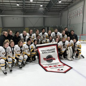 The Edmonton Pandas team shot after securing gold at the 2020 Female World Sport School Challenge on Sunday, Feb. 2, at Bell MTS Iceplex. Photo: FWSSC on Twitter