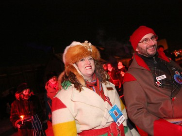 Participants in Torch Light Walk celebrating the opening of Festival du Voyageur in Winnipeg, Man., on Friday, Feb. 14, 2020. The 51st annual Festival du Voyageur runs from Feb. 14 to 23, 2020.