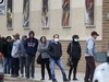 People line up to enter a grocery shop, in Winnipeg.  Saturday, April 25/2020 Winnipeg Sun/Chris Procaylo/stf