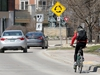 A cyclist approaches a traffic calming circle on Waterfront Drive at Bannatyne Avenue in Winnipeg on Wed., May 6, 2020. Kevin King/Winnipeg Sun/Postmedia Network