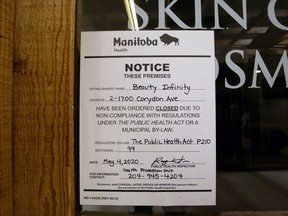 Beauty Infinity, a skin care service in the Corydon Village Mall pictured on Monday, was shut down by Manitoba Health for violating public health orders.