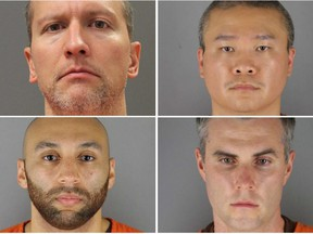 Former Minneapolis police officers (clockwise from top left) Derek Chauvin, Tou Thao, Thomas Lane and J. Alexander Kueng pose in a combination of booking photographs from the Minnesota Department of Corrections and Hennepin County Jail in Minneapolis, Minn.