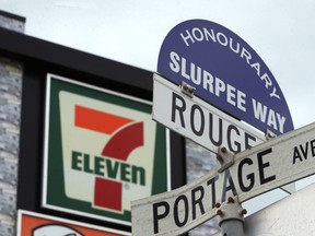An honourary street sign in Winnipeg last month. A community committee has voted to keep the title for two more years.